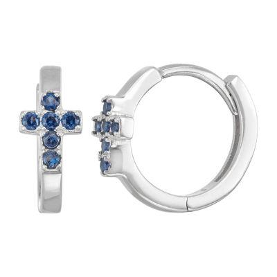 Children'S Blue Cubic Zirconia Sterling Silver 13.5mm Hoop Earrings