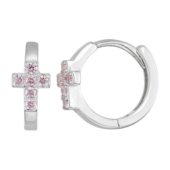 Children'S Pink Cubic Zirconia Sterling Silver 13.5mm Hoop Earrings