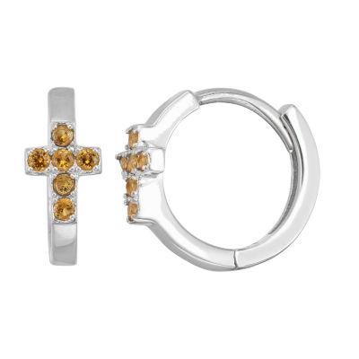 Children'S Yellow Cubic Zirconia Sterling Silver 13.5mm Hoop Earrings