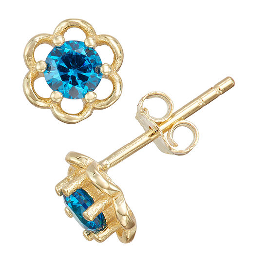 Children'S Blue Cubic Zirconia 14K Gold Over Silver 5mm Flower Stud Earrings
