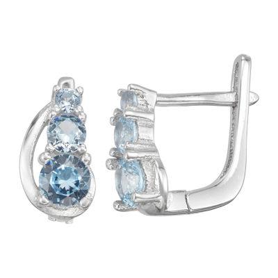 Blue Cubic Zirconia Sterling Silver 10.3mm Hoop Earrings