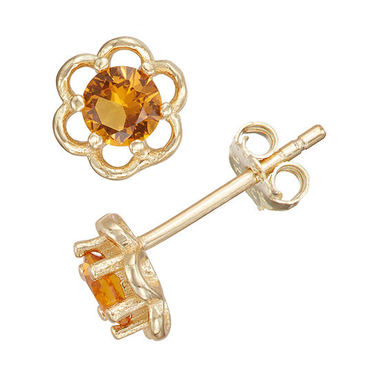 Children'S Yellow Cubic Zirconia 14K Gold Over Silver 5mm Flower Stud Earrings