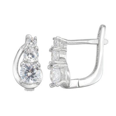 White Cubic Zirconia Sterling Silver 10.3mm Hoop Earrings