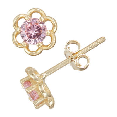 Children'S Pink Cubic Zirconia 14K Gold Over Silver 5mm Flower Stud Earrings