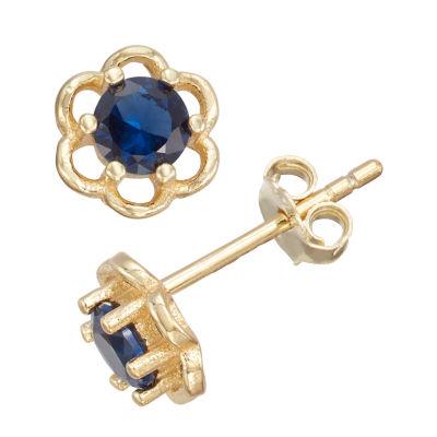 Children'S Blue Cubic Zirconia 14K Gold Over Silver 5mm Flower Stud Earrings