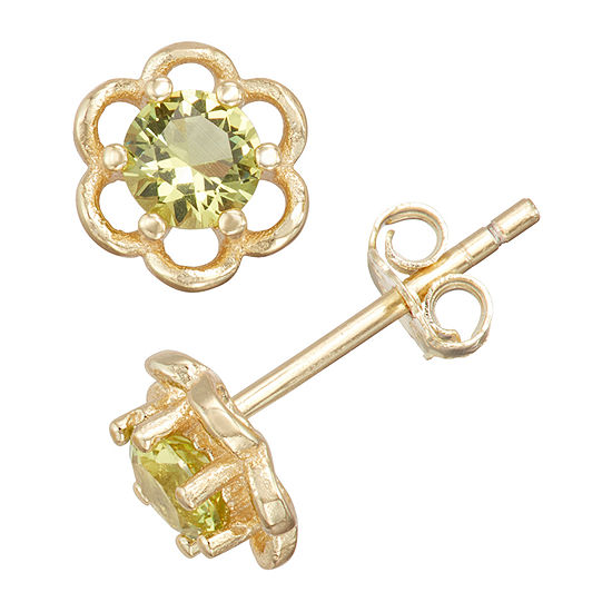 Children'S Green Cubic Zirconia 14K Gold Over Silver 5mm Flower Stud Earrings