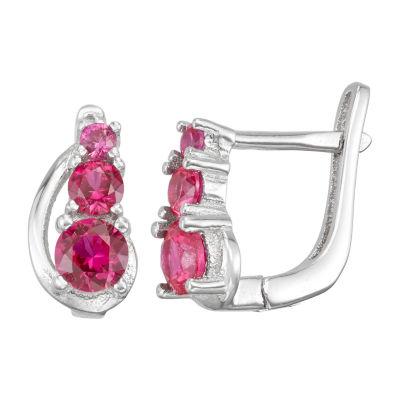 Children'S Red Cubic Zirconia 10.3mm Hoop Earrings