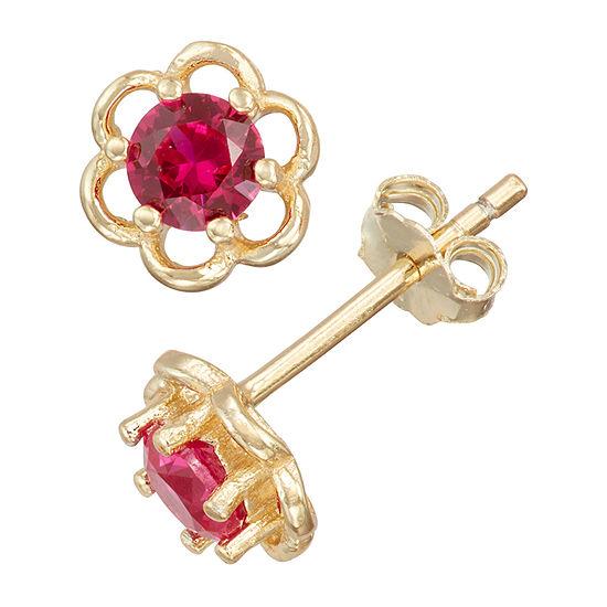 Children'S Red Cubic Zirconia 14K Gold Over Silver 5mm Flower Stud Earrings