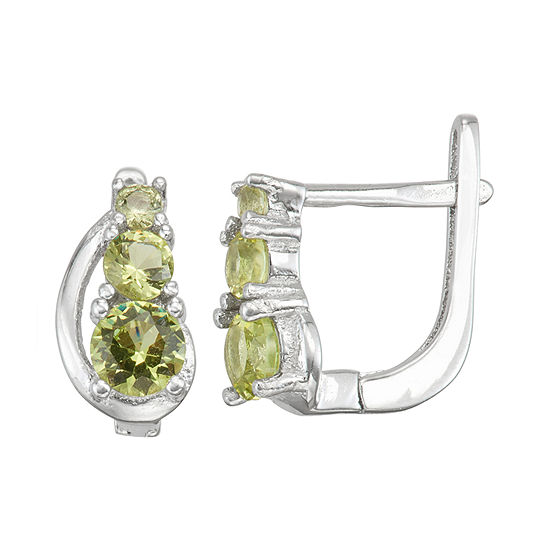 Children'S Green Cubic Zirconia Sterling Silver 10.3mm Hoop Earrings