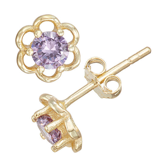 Children'S Purple Cubic Zirconia 14K Gold Over Silver 5mm Flower Stud Earrings
