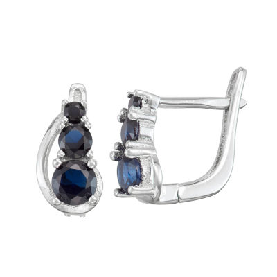 Children'S Blue Cubic Zirconia Sterling Silver 10.3mm Hoop Earrings