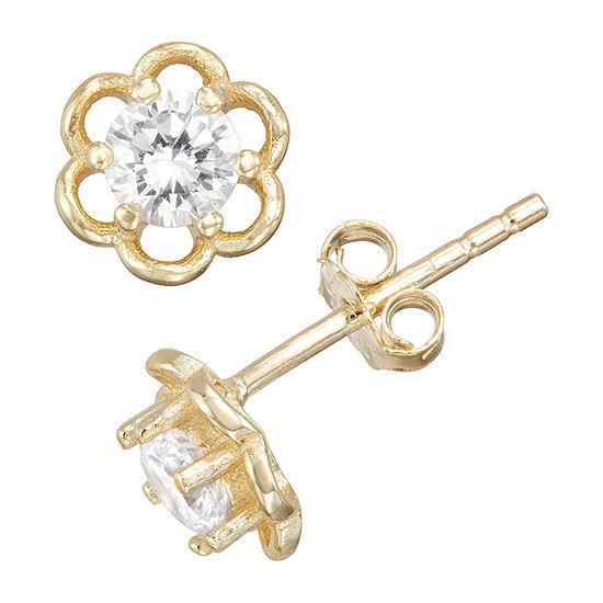 Children'S White Cubic Zirconia 14K Gold Over Silver 5mm Flower Stud Earrings