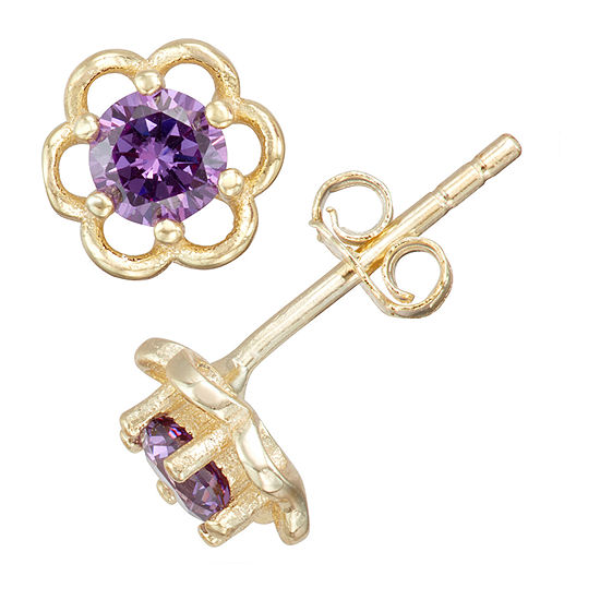 Childrens Purple Cubic Zirconia 14k Gold Over Silver 5mm Flower Stud Earrings