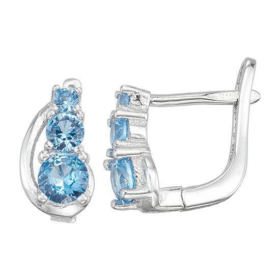 Children'S Blue Cubic Zirconia Sterling Silver 10.3mm Hoop Earrings