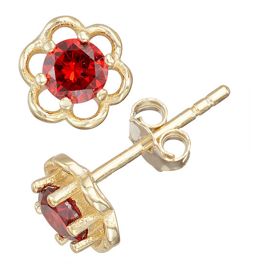 Children'S Red Cubic Zirconia 14K Gold Over Silver 5mm Flower Stud Earrings