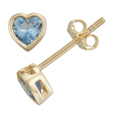 Blue Cubic Zirconia 14K Gold Over Silver 10.5mm Heart Stud Earrings