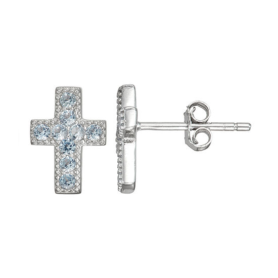 Children'S Blue Cubic Zirconia Sterling Silver 10.5mm Cross Stud Earrings