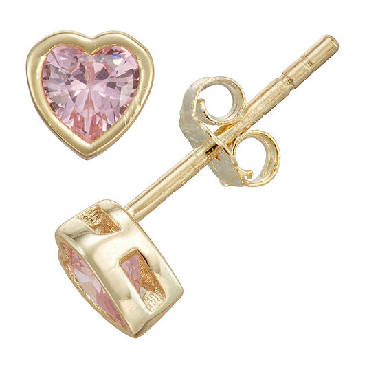 Children'S Pink Cubic Zirconia 14K Gold Over Silver 10.5mm Heart Stud Earrings