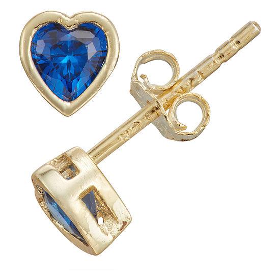 Children'S Blue Cubic Zirconia 14K Gold Over Silver 10.5mm Heart Stud Earrings