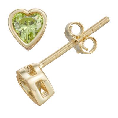 Green Cubic Zirconia 14K Gold Over Silver 10.5mm Heart Stud Earrings