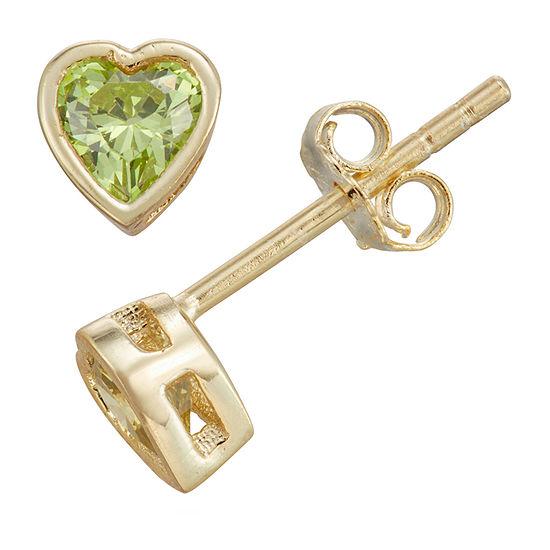 Children'S Green Cubic Zirconia 14K Gold Over Silver 10.5mm Heart Stud Earrings