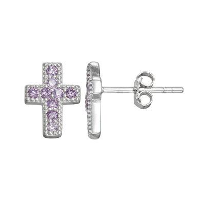 Children'S Purple Cubic Zirconia Sterling Silver 10.5mm Cross Stud Earrings