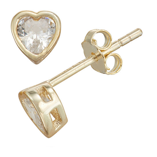 Children'S White Cubic Zirconia 14K Gold Over Silver 10.5mm Heart Stud Earrings