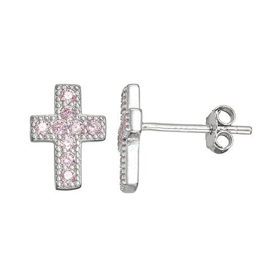 Childrens Pink Cubic Zirconia Sterling Silver 105mm Cross Stud Earrings