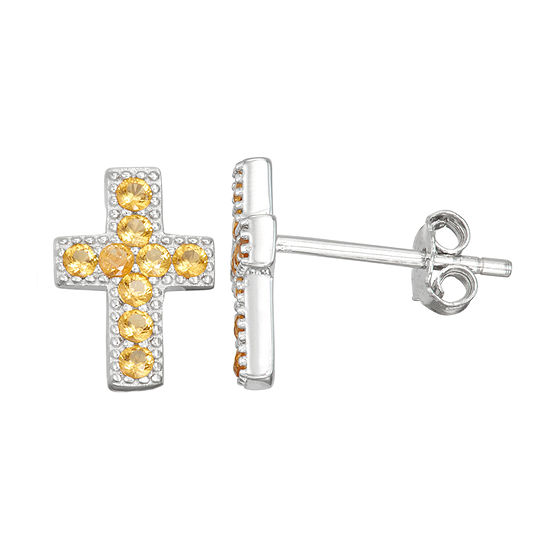 Children'S Yellow Cubic Zirconia Sterling Silver 10.5mm Cross Stud Earrings