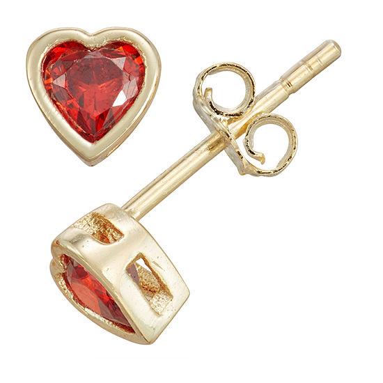 Children'S Red Cubic Zirconia Sterling Silver 10.5mm Heart Stud Earrings