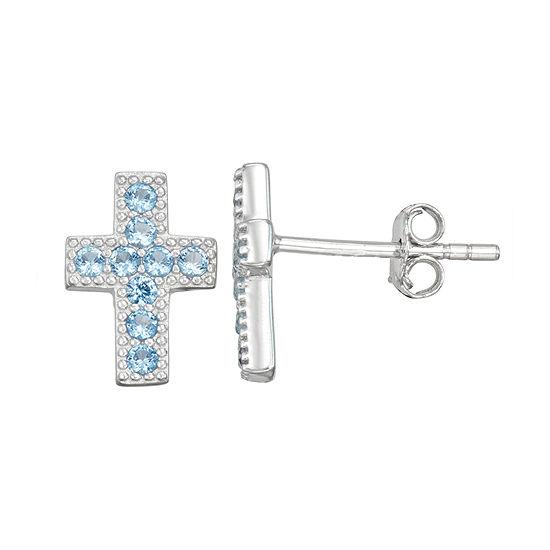 Children'S Blue Cubic Zirconia Sterling Silver 10.5mm Cross Stud Earrings