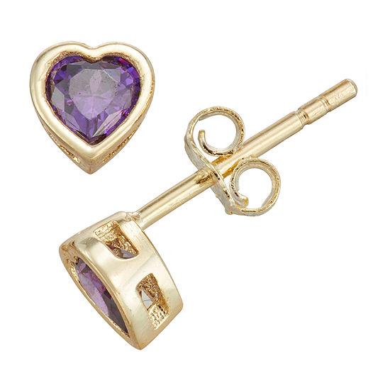 Children'S Purple Cubic Zirconia 14K Gold Over Silver 10.5mm Heart Stud Earrings
