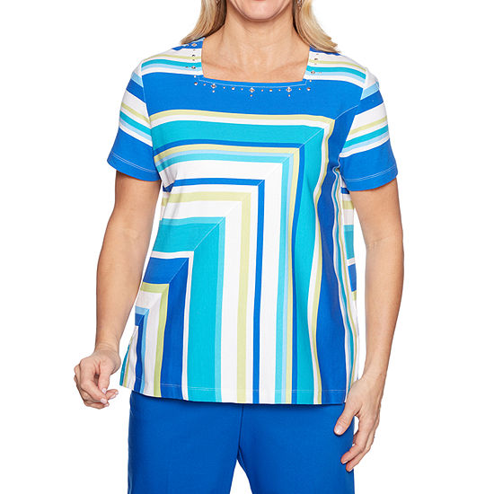 Alfred Dunner Waikiki-Womens Square Neck Short Sleeve T-Shirt