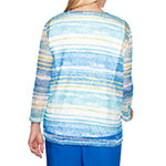 Alfred Dunner Waikiki Womens Crew Neck 3/4 Sleeve Layered Top