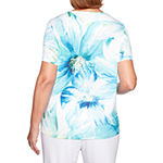 Alfred Dunner Waikiki-Womens Round Neck Short Sleeve T-Shirt