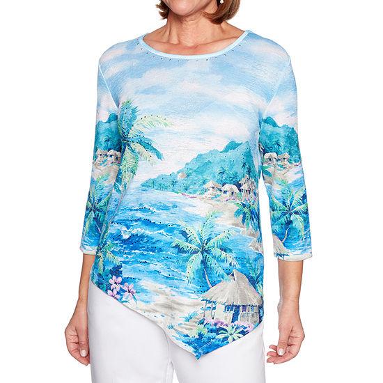 Alfred Dunner Waikiki-Womens 3/4 Sleeve Top