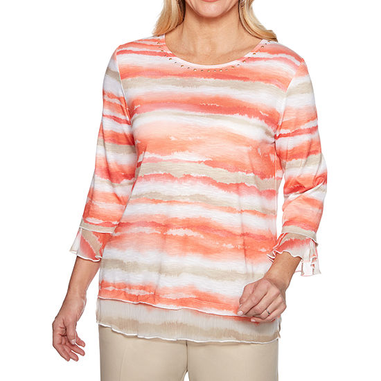 Alfred Dunner Martinique-Womens Crew Neck 3/4 Sleeve T-Shirt