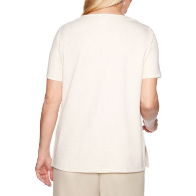 Alfred Dunner Martinique-Womens Crew Neck Short Sleeve T-Shirt