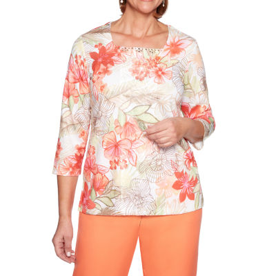 Alfred Dunner Martinique-Womens Square Neck 3/4 Sleeve T-Shirt