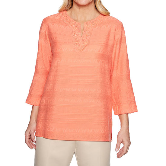 Alfred Dunner Martinique Womens Split Crew Neck 3/4 Sleeve Tunic Top