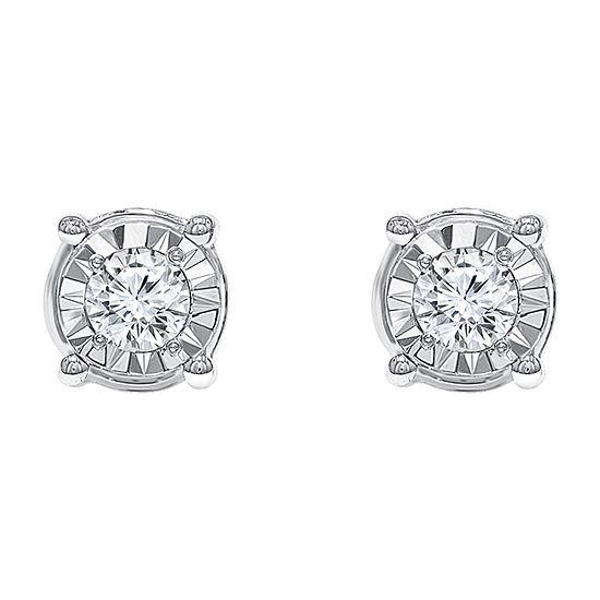 Tru Miracle 3/4 CT. T.W. Genuine White Diamond Sterling Silver Stud Earrings