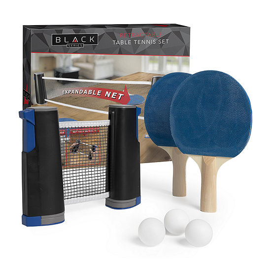 The Black Series Table Top Tennis Retractable Go Anywhere Ping Pong Set 5-pc. Table Game