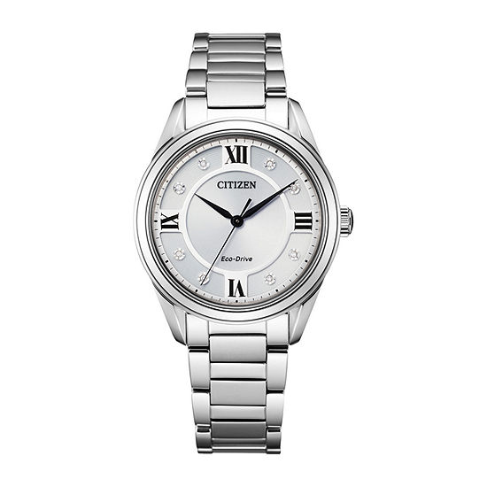 Citizen Arezzo Womens Diamond Accent Silver Tone Stainless Steel Bracelet Watch - Em0870-58a