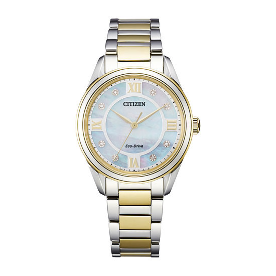 Citizen Arezzo Womens Diamond Accent Two Tone Stainless Steel Bracelet Watch - Em0874-57d