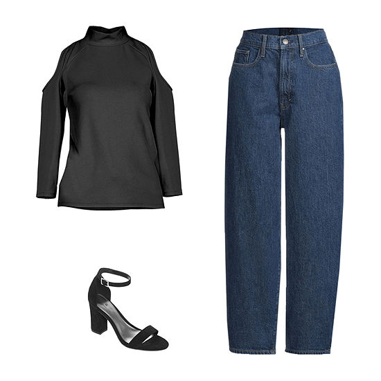 BLACK COLD SHOULDER/BALLOON FIT JEAN: Worthington Cold Shoulder Top, a.n.a Balloon-Fit Jeans & Heeled Sandals