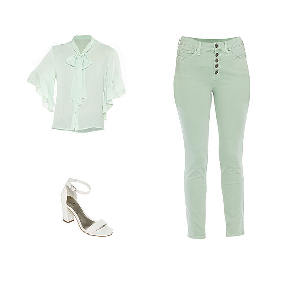 WT/ANA ALL GREEN: Worthington Tie Neck Ruffle-Sleeve Top, Button-Front Skinny Ankle Pants & Sandals