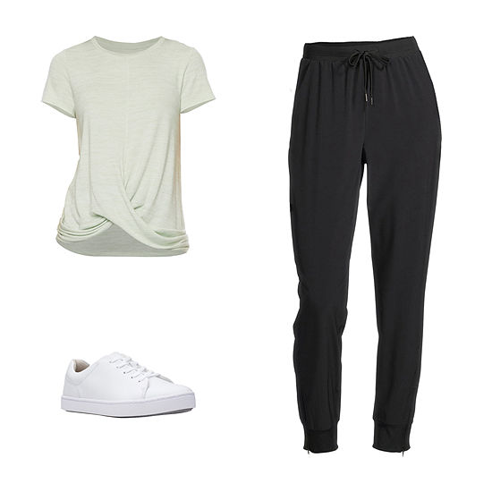 STYLUS CELADON/JOGGER: Stylus Twist-Front Top, Skinny Joggers & Clarks Shoes