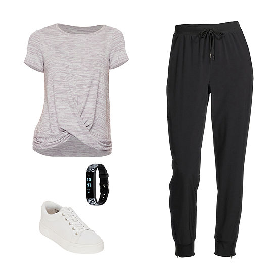 VINTAGE MAUVE/JOGGER: Stylus Twist-Front Top, Skinny Joggers & Arizona Sneakers