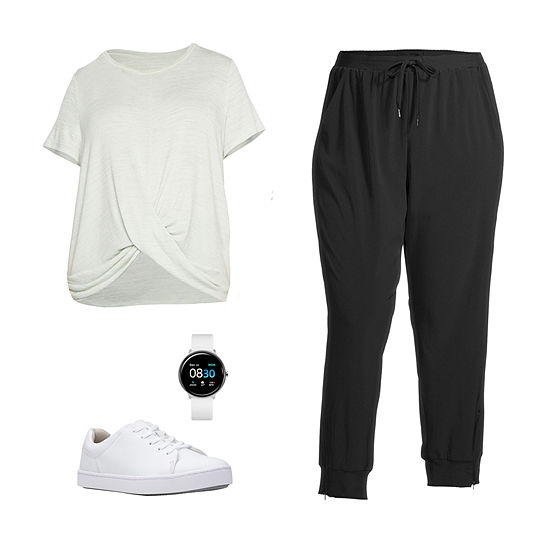 PLUS CELADON/JOGGER: Stylus Plus Twist-Front Top, Skinny Joggers & Clarks Shoes
