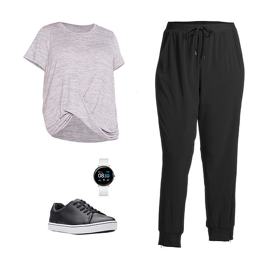 PLUS STYLUS VINTAGE MAUVE/JOGGER: Stylus Plus Twist-Front Top, Skinny Joggers & Clarks Shoes